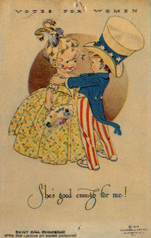"Emily Hall Chamberlin (after Homer Davenport), ""She's Good Enough for Me,"" postcard, 1915"