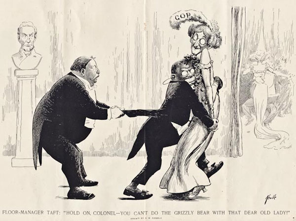 "Edward W. Kemble, ""Floor Manager Taft: Hold On Colonel – You Can't Do The Grizzly Bear With That Dear Old Lady!"" Harper's Weekly, February 24, 1912"