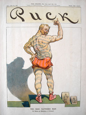 "Udo J. Keppler, ""The New Tattooed Man: He Makes an Exhibition of Himself,"" Puck, April 10, 1912"