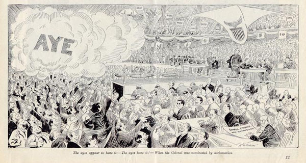 "John T. McCutcheon, ""...The Ayes Have It! – When the Colonel Was Nominated by Acclamation,"" Collier's, August 24, 1912"