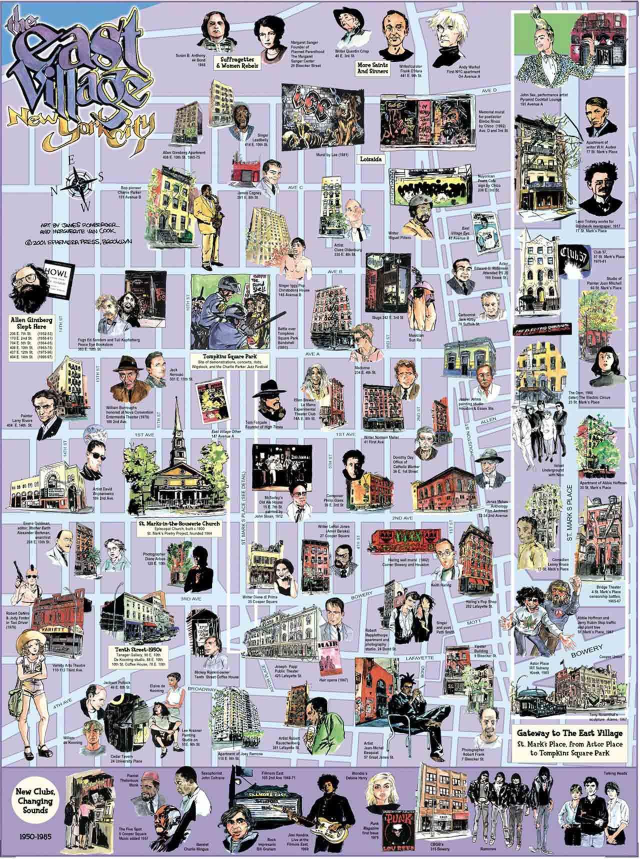 East Village Map Ephemera Press - Nyc unfolds map