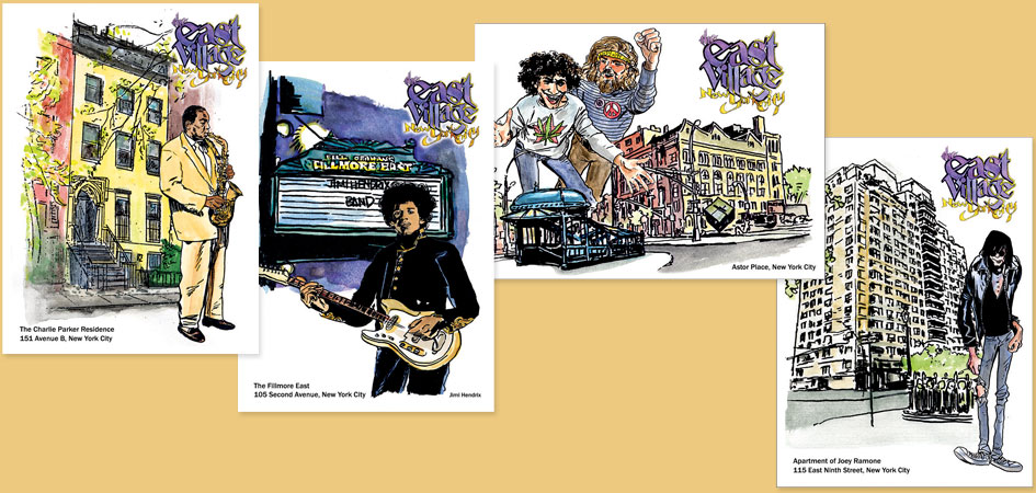 East Village postcards featuring Charlie Parker, Jimi Hendrix, Abbie Hoffman & Jerry Rubin, and Joey Ramone