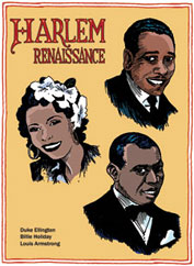 Harlem Musicians: Duke Ellington, Billie Holiday, Louis Armstrong postcard