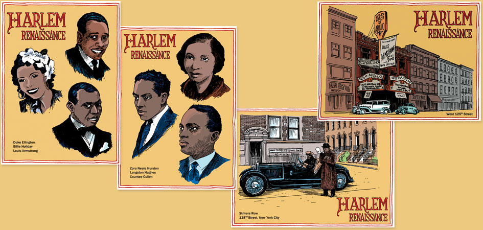 Harlem Renaissance postcards featuring Harlem muscians, writers, Apollo theater and Strivers Row