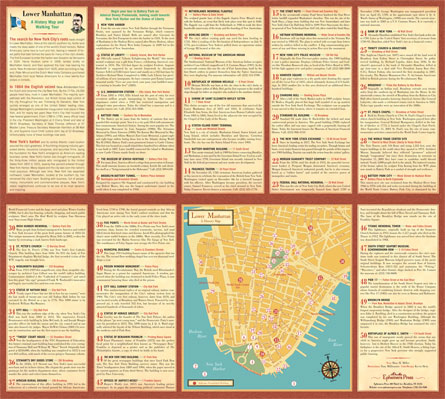 Walking tour on back of Lower Manhattan: A History map