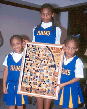 Dean Rusk Elementary Ram Cheerleaders with framed copy of Ephemera Press's Harlem Renaissance Map